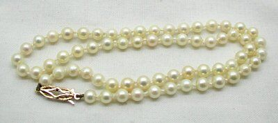 Lovely Single Strand Cultured Pearl Necklace With 9ct Gold Clasp