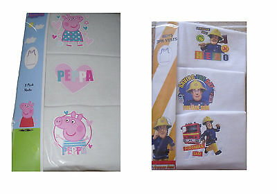 Boys/Girls 3 Pack Vest Tops Peppa Pig Or Fireman Sam