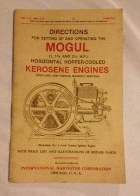 Directions For Setting Up And Operating The Mogul 1, 11/2 & 21/2 Hp Horizontal H