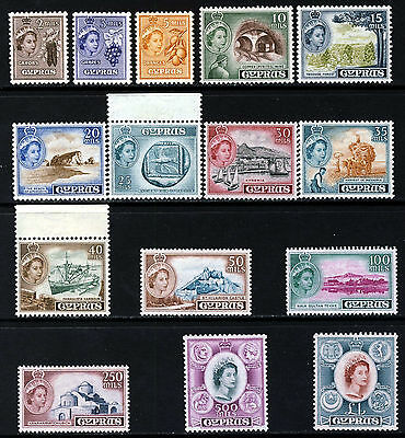 CYPRUS QE II 1955 Complete Pictorial Set SG 173 to SG 187 MINT