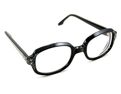 Retro Hipster Vintage 50's Eye Glasses with Blue and Silver Rhinestones w/ Case
