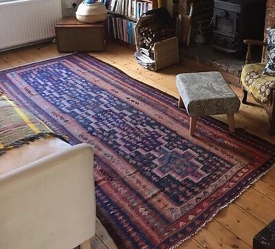 Vintage Antique Kilim Rug Persian Oriental Blue Orange Pink Wool 271x120cm