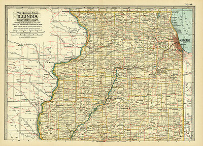 1899 Century Northern Illinois Original Antique Color Map