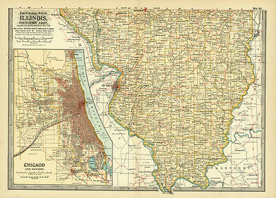 1899 Southern Illinois Chicago Original Antique Color Map