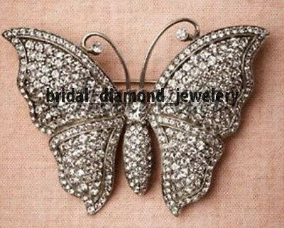 Vintage Inspired 4.42cts Pave Rose Cut Diamond Silver Butterfly Brooch / Pin