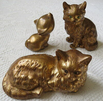 VINT. TWO GOLD LEAF CATS & KITTEN COLLECTIBLE FIGURINES MARKED Emc FLORIDA TAG
