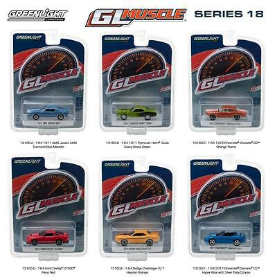 Greenlight 13180 Muscle Series 18 SET OF 6 Diecast Model Cars 1:64 NEW!!