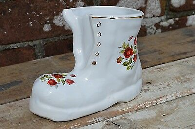 Vintage Ceramic Boot Shoe Souvenir Crested Ware Gilded Tenby Ornament China