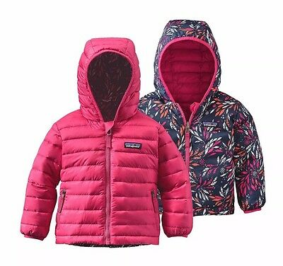 Patagonia Baby Reversible Down Coat Hoody Girls Size 3-6 Months. MRSP $119