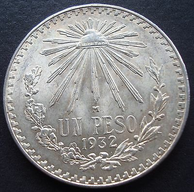 Mexico $1 Peso Silver 720 1932 Espectacular Coin Uncirculated