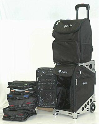 ZUCA Pro Travel Bag with Silver Frame (w. Built-In Seat) + Business Backpack Kit