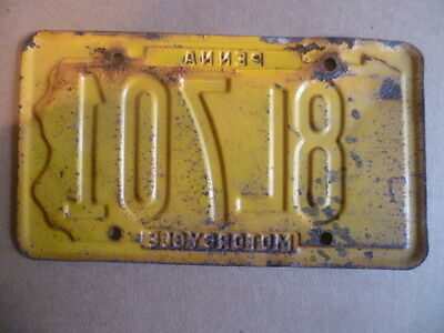 Ancienne plaque d'immatriculation moto motorcycle (Penna) Pennsylvanie USA 1969