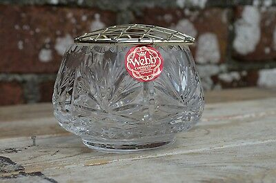 Small Webb Continental Lead Crystal Posy Rose Flower Bowl Silver Plated Frog