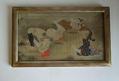 Antique Japanese Wood Block Silk Shunga Erotica Art Framed
