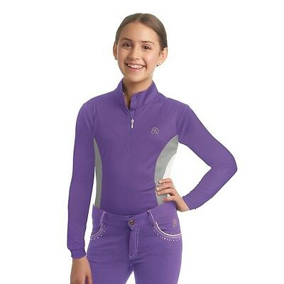 Ovation Child Mock Shirt Neck Sport Shirt LS Grape/Storm Large