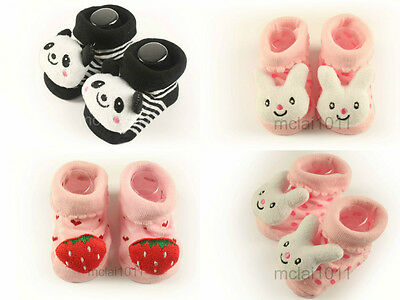 x4 Newborn 12M Baby Girl 3D Cartoon Socks Sock Warmer Cute Babyshower Gifts Gift