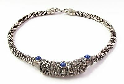 Mexico - 925 Silver - Vintage Antique Finish Beaded 2-Tone Necklace 62g B031