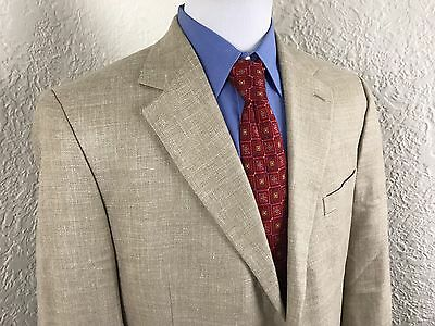 Brooks Brothers Beige Linen Blend 2 Button Sport Coat Jacket Blazer Mens 42 Long