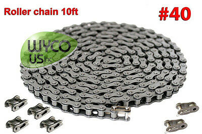 #40 ROLLER CHAIN, SOME GO KARTS, SCOOTERS, 4x4, 10' BOX, FREE 2 OFFSET LINKS