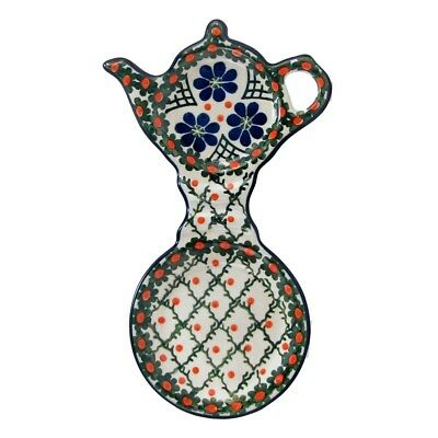Polish Pottery Handmade 8'' Cup and Teabag Holder  Poland Traditional Pattern 76