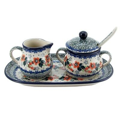 Polish Pottery 5 Piece Sugar and Creamer Set With Serving Tray Handmade Pattern