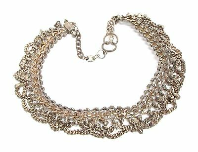 925 Silver - Vintage Antique Finish Royal Collar Chain Necklace 107g