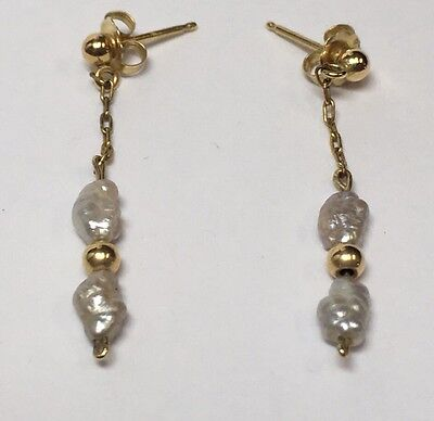"cultured freshwater pearl earrings 6mm .4/"" 1cm solid 14k yellow gold leverbacks"