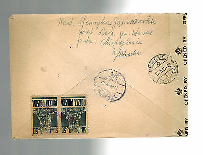 1945 Warsaw Poland Registered Censored by UK Cover to Switzerland Via Turkey