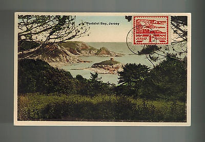 1944 Occupied Jersey England Picture Postcard Cover Portelet Bay Scene