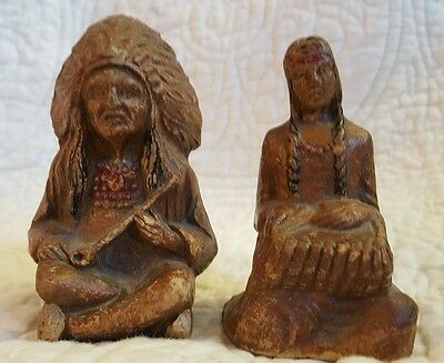 Vintage Hand Carved, Painted Wood Native American Indian Chief And Woman