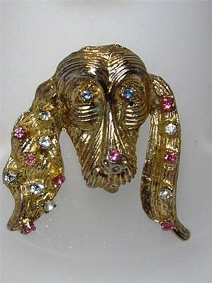 Vintage Gold Tone & Rhinestone Basset Hound Irish Setter Dog Head Pin Brooch