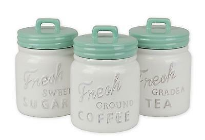 Kitchen Canisters 3 Pcs Set Ceramic Sugar Coffee Tea Country Vintage Rustic New