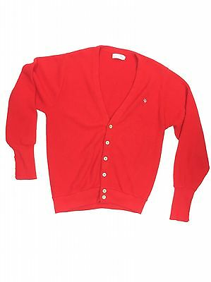 """Vintage Christian Dior Red Knit Cardigan Sweater Sz Large 44"""" Chest Holiday"""