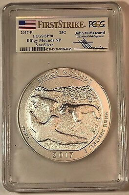 2017 P EFFIGY MOUNDS 5 oz ATB America T Beau.  PCGS SP70 First Strike MERCANTI