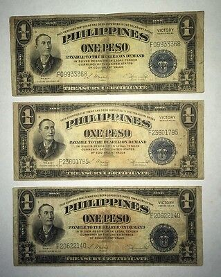 3 WWII Victory series 66 Philippine $1 Peso Backed by USA!  just dropped $5