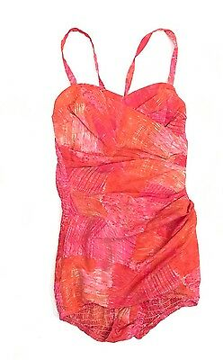 AMAZING Vtg 50s CATALINA One Piece Bathing Swim Suit Pink Orange Romper Sz 10