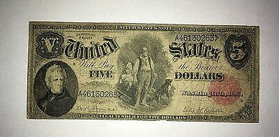 1880 $5 Woodchopper, Not 1907  Rare Bruce / Roberts W/ red seal & Blue Serial #s