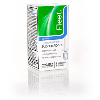 Fleet 185 Liquid Glycerin Suppositories - Case of 24 packs of 4 (96) Exp May '20