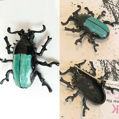 Plastic Vintage Fashion Cute Punk Insect Jewelry Enamel Beetle Bug Brooch Pin HU