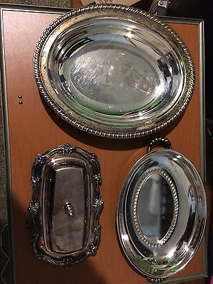 Lot Of Assorted Vintage Silverplated Dishes butter dish serving trays