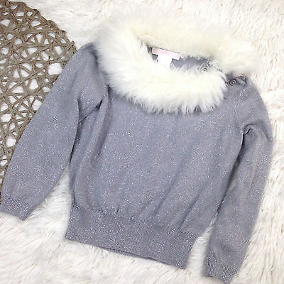 Janie and Jack Faux Fur Collar Sweater Size 3 Gray Silver White