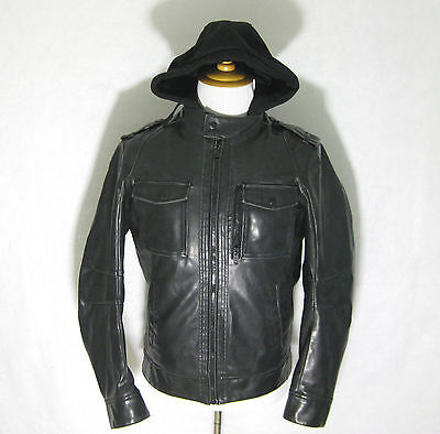 Mens SONOMA Black Long Sleeve Hooded Faux Leather Motorcycle Jacket Size Small S