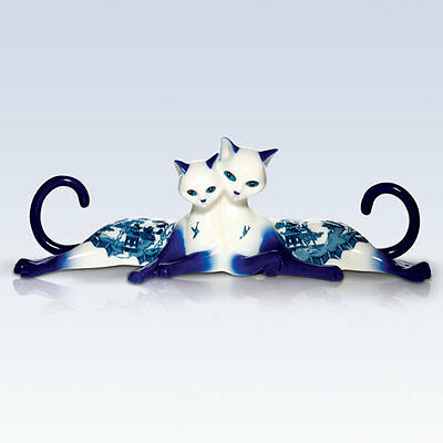 Purr-Fect Breeze For A Safe Passage Lovers Cats - Blue Willow Cats Figurine