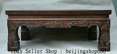 "24"" Old Chinese Huanghuali Wood Hand Carved Dragon Blessing Luck Kang Table Desk"