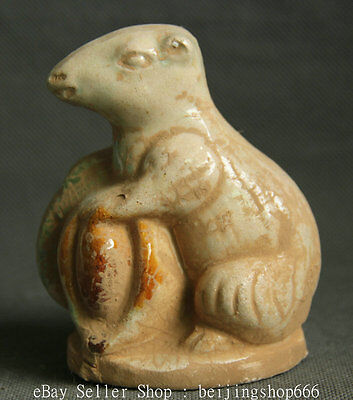 10CM Old Chinese Tang San Cai Pottery FengShui YuanBao Fortune Mouse Mice Statue