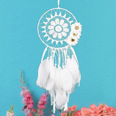 White Dream Catcher with Feather Wall Hanging Decor Ornament Craft Handmade Gift