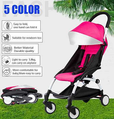 Pink Lightweight Baby Stroller Pram Jogger Kids Pushchair Travel Carry-on