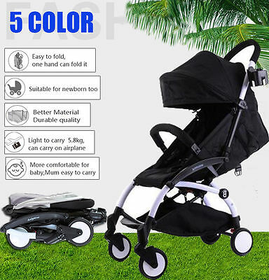 Black Lightweight Baby Stroller Pram Jogger Kids Pushchair Travel Carry-on AU