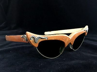 Vintage 1950s Cat Eye Sunglasses Cane Rhinestone Faux Marcasite Glass Wood Cats