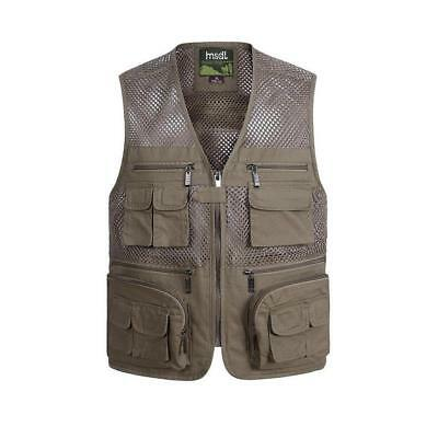 Men's Multi-Pocket Fishing Hunting Mesh Vest V-neck Photography Travel Jacket